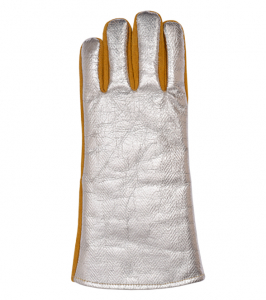 Aluminium high-temperature resistant gloves with lining, combined (leather+aluminium), Kevlar